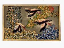 "Stunning Robert Debieve French Modernist ""Flight of Flamingos"" Tapestry 1950s"