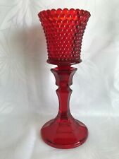 Hobnail Homco Peg Candle Holder & Royal Ruby Red Glass Pedestal Candlestick