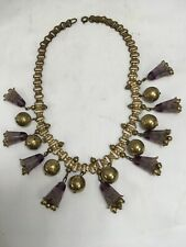 Antique Book Chain Gold Filled Purple Lilies Gold Beads Necklace