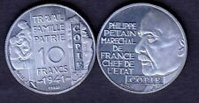 ★★ JOLIE COPIE DE L'ESSAI ALUMINIUM DE GALLE DE LA 10 FRANCS 1941 PETAIN ★★★