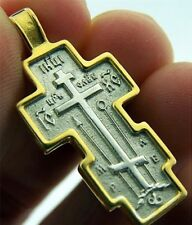 Russian Orthodox Silver 925 Gold Plate Three Bar Cross W Prayer 1 1/4 Inches