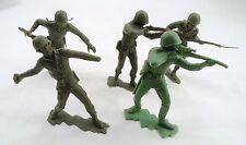 "5 1963 Louis Marx 5"" Green Plastic WWII US Military Soldiers USMC Marines USGI"