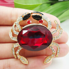 Fashion Jewelry Lovely Red Crab Animal Gold-tone Brooch Pin Rhinestone Crystal