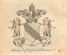 1768 ANTIQUE PRINT- CREST-ARMS - HARLEY, EARL OF OXFORD & MORTIMER