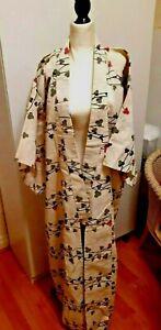 Vintage Silk/Linen Blend Kimono Cream/Pink/Grey Japanese Original Japan Robe