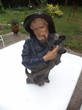 "ISLE ADAM Sculpture en platre  signée CAPALDO  ""LE LOUP DE MER"" BORD DE MER"