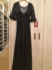 JS Collection Black Evening Gown Satin Lace. Sz 8. New With Tags! Retails$198