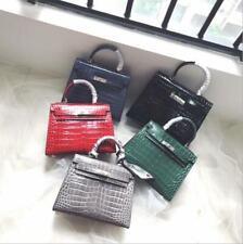 Women's Genuine Leather Crocodile Pattern Shoulder Slung Handbag Messenger Bag