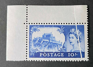 Rare 10/.Blue Corner Marginal Pre Decimal Castle with Paperfold Error