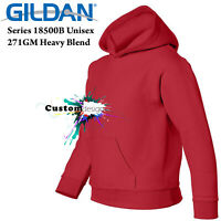 Gildan Red Hoodie Heavy Blend Basic Hooded Sweater Boy Girl Youth Kids