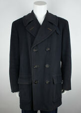 Vintage Authentic 1940's Usn Officers Navy Pea Coat size Large Long