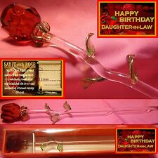RED ROSE GLASS FLOWER DAUGHTER IN LAW HAPPY BIRTHDAY PRESENT   GIFT RELATIVE