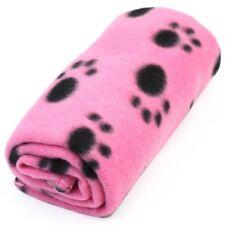 Pink Dog Fleece Blanket Paw Print Soft Warm Paw Print Pet Cat Puppy Bed Mat
