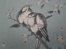 "Chivasso rideau tissu ""oiseau de jardin"" 2.6 mètres bleu/gris ~ mélange de lin"