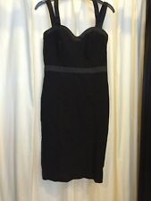 Teatro black fully lined classic satin detail  strappy short dress size 8