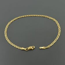 "18K YELLOW GOLD 2.4MM WIDE SOLID MARINER LINK 7.5"" INCH BRACELET"