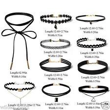 10 Pcs Choker Necklace Set Stretch Velvet Classic Gothic Tattoo Lace Retro Black