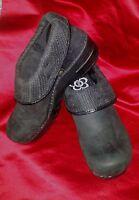SANITA Womens UK 40  US 9 - 9.5 BLACK CLOGS Leather Closed-back Professional NEW