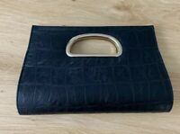 Forever New Black Gold Clutch Faux Crocodile Leather Ladies Purse Bag Handbag