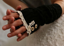 Lady Lace Knit Fingerless Gloves Winter Button Arm Warmers Xmas Arm Warmer Gifts