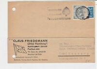 Germany 1958 Hamburg Cancel Obligatory Tax Aid for Berlin Stamps Card Ref 28119