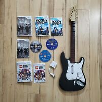 Nintendo Wii RockBand Bundle Wii Games with Harmonix Wireless Guitar w/Dongle