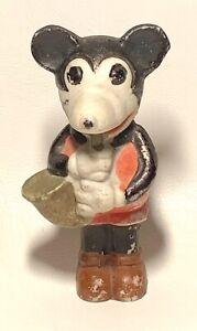Antique Bisque Mickey Mouse Figurine Walt E Disney Japan Cute Figurine w sax
