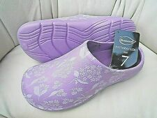 NEW Burwood lilac garden CLOGS with floral patterns -Size 7 UK - Made by Briers.