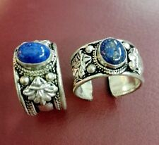 Old Tibet Silver Carved Ring Adjustable Religion Lapis Lazuli Stone one pieces