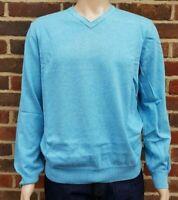 Men`s John Rocha V-Neck Jumper Pure Cotton Size Large Light Blue