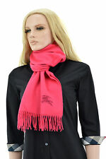 $565 BURBERRY Fuchsia Pink SOLID HORSE 100% Cashmere Womens Scarf NEW COLLECTION