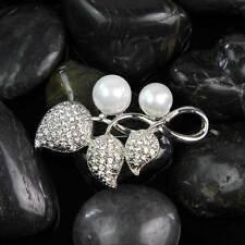 Rhinestone Metal Leaf Pearl Brooch Pins Wedding Bridal Dress Jewelry Silver