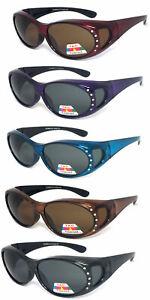 Womens Fit Over POLARIZED Rhinestones Sunglasses Oval UV Protect