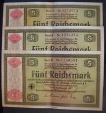 1934 Germany 5 Reichsmark Notes Crisp AU Some Pin Holes     *FREE U.S SHIPPING**