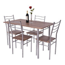 5 Piece Dining Table Set Wood Metal Kitchen Breakfast Furniture W 4 Chair Walnut