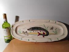 Plat faience Villeroy Boch Mettlach décor poisson peint main Edition Cambet