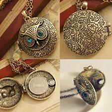 Vintage Bronze Jewelry Lovely Owl Memory Locket Pendant Long Chain Necklace Gift