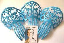 Vtg Spanish Peineta Mantilla Hair Comb~Set Of 3~Turquoise Blue~Made In Spain~New