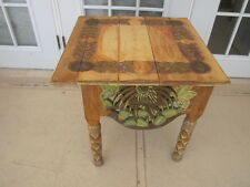 Unique solid wood end or accent table carved and hand paint from south america