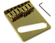 Kluson 4 hole 6 Saddle Telecaster Drop in Upgrade Bridge, Brass Saddles, Gold