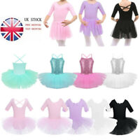 UK!! Girls Ballet Tutu Dress Ballerina Leotard Dance Party Skirt Dancing Costume