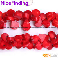 """Teardrip Pink Red Coral Top Drilled Stone Beads For Jewelry Making Strand 15"""" NF"""