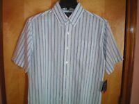 NWT NEW mens size S white blue stripe CROFT & BARROW s/s easy care shirt $36
