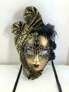 "Full Face Venetian Decorative Wall Mask Black Gold Metallic Glitter 17""x10"
