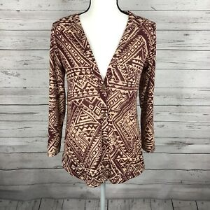 Daytrip Womens Button Front Cardigan Sz M Brick Red Ivory Tribal Boho Lace Back