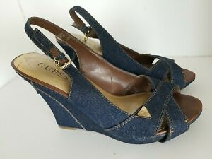Guess Blue Denim Wedge Sandals Shoes Women 9.5M Peep Toe Strappy Heel