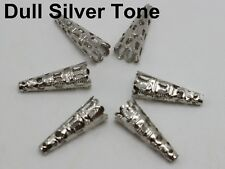 50 Dull Silver Tone Filigree Flower Cone Shape End Beads Cap 22mm Jewelry DIY