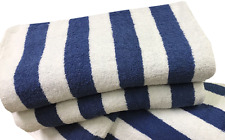 6 Pack New Large Beach Resort Pool Towels in Cabana Stripe jumbo Blue 30x60