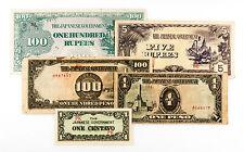 5 diff. WW2 Burma & Philippines 1940's Japanese invasion paper money circ.-Au