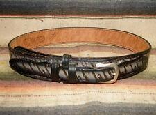 Vintage Nocona Tooled Stamped Gray Woodgrain Leather Western Ranger Belt 30 New